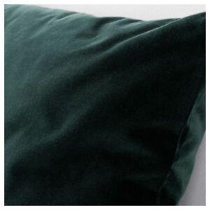 "IKEA SANELA VELVET CUSHION COVER RICH DARK GREEN COTTON 20x20"" NEW FREESH"