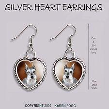 Schnauzer Dog Silver Cropped Ears - Heart Earrings Ornate Tibetan Silver