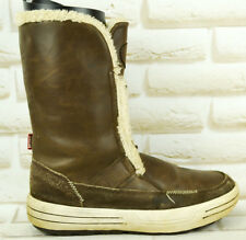 MUNK Brown Leather Womens Mid-Calf Snow Boots Shoes Size 4.5 UK 38 EU