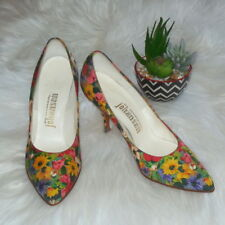 7e1aa338f87a Vintage Johansen FLORAL PRINT Fabric Pumps 6 Narrow Pointy Toe