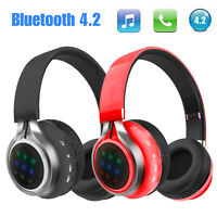 Universal Bluetooth Wireless Headset Over-Ear Stereo Headphone Super Bass Black