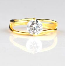 Awesome Round Shape 1.50 Carat 14KT Solid Yellow Gold Solitaire Engagement Ring