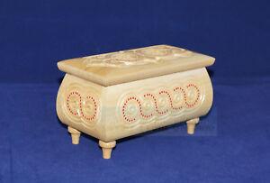 Small White Jewelry Box Wooden Hand Carved Handmade Encrustation, Ukrainian Wood