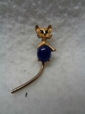 COSTUME JEWELRY CAT PIN with green stone eyes and blue belly stone