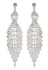 CLIP ON EARRINGS - silver drop earring with clear crystals - Cadis S