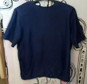 Size 16 Vintage K.B. Lawrence 100% SILK Navy Short Sleeve Shoulder Pads Shirt