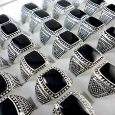 50pcs Black Enamel Metal Alloy Rings Wholesale Jewelry Free Shipping