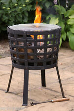 Cast Iron Firepit with BBQ Grill Cast Iron  Fire Basket Barbecue Garden Brazier