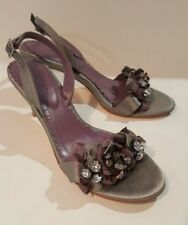 BODEN Ladies Grey Satin Purple & Grey Ribbon Embellished Slingbacks sandals UK 4