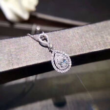 Noble Jewel Pear Shape Simulated Diamond 925 Sterling Silver Pendant Necklace