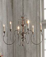 NEW Horchow French Hardware Farmhouse Vintage European Candle Chandelier $500