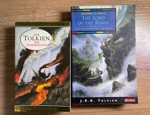 2 Paperback Books by JRR Tolkien: The Silmarillion + Lord Of The Rings Part 1