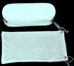 LACOSTE Soft Sided Eyeglass or Sunglasses Case White with Green Zipper