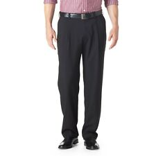 NEW MENS HAGGAR NO IRON EXPANDABLE WAIST STRETCH PLEATED CHARCOAL PANTS 34 x 29