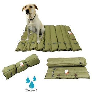 100% Waterproof Dog Travel Mat Bed Protector Green Reversible Car Boot Roll Up