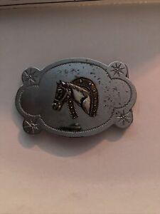 Vtg Silverado Sterling Silver Horse Head Lucky Horseshoe Western Belt Buckle