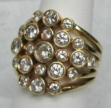FABULOUS 18K GOLD & MULTI 1.60ct DIAMOND BEZZEL SET RING SIZE 7