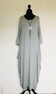 Made In Italy Lagenlook Grey Jersey Parachute Dress - UK Size 12 14 16