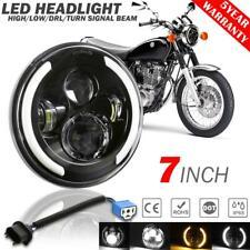 "7"" LED Motorcycle Headlight Angel Eyes DRL Black Sealed Lamp for Harley Davidson"