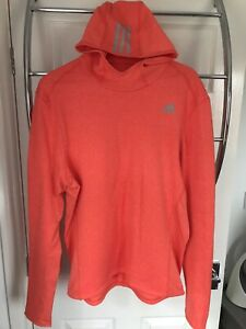 Mens Adidas Climalite Orange Hooded Fleece Lined Running Top Size L