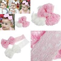 KQ_ FP- FP- Faux Pearl Newborn Baby Headdress Girls Chiffon Hair Band Flower Hea