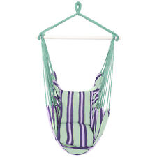 Hammock Cotton Polyester Hanging Rope Swing Outdoor Garden Tree Porch /w Pillows