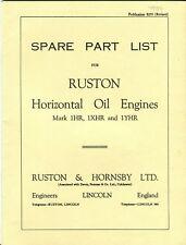 Ruston Horizontal Oil Engine Mark 1HR,1XHR & 1YHR Parts list No. 8255 reprint
