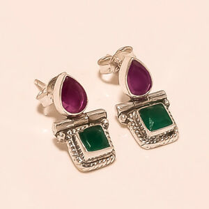 4.20 Gm 925 Solid Sterling Silver Lab Created Emerald,Ruby Stud Earrings T1057
