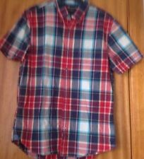 Mens Short Sleeved Red Checked Shirt By American Eagle Outfitters, Size S