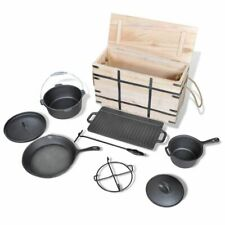 vidaXL Dutch Oven Set 9-tlg Holzkiste Kochtopf Topf Pfanne Grillplatte Camping