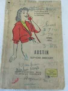 Vintage 1959 Austin MN telephone directory address yellow pages book