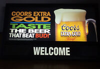 Coors Extra Gold Light Up Welcome Bar Sign