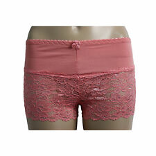 Womens Ladies Half French Lace Knickers Boxer Boy Shorts Size M XL 8 14 XL Coral-3030