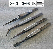 4 Piece Precision Tweezer Set - Suit SMD SMT Reverse Action Stainless Steel