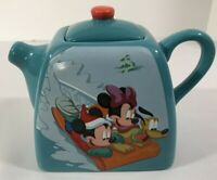 Collectible Disney Micky/Minnie Mouse Teapot Blue Ceramic Red Knob Top