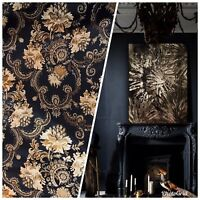 SWATCH Brocade Jacquard Fabric- Black Gold Floral- Neoclassical Upholstery