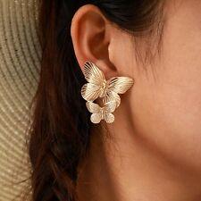 Ladies Women Gold Double Butterfly Bold Modern Fashion Statement Earrings UK