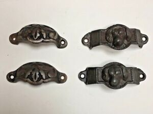 Victorian Cast Iron Drawer Pulls 2 Dogs 2 Floral