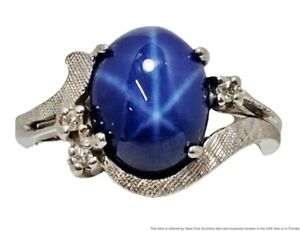 14k Solid White Gold Blue Synthetic Star Sapphire Diamond 1950s Ring Size 5