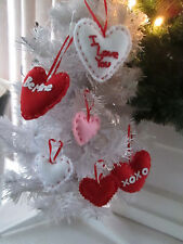 Pkg of 15 - Assorted Color & Size Valentines Day Fabric Heart Ornaments, Nib
