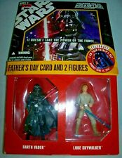 unique Star Wars fathers day card w Luke & Vader 3.75 action figures Disney rare
