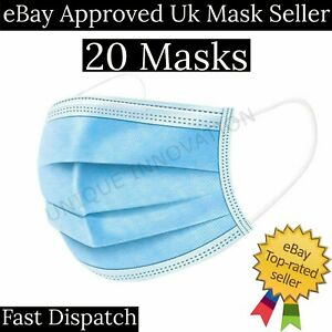 20 Non Surgical Masks 3 Ply Disposable Face Mask pollen Dust Protection allergy