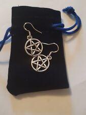Gothic Pentagram Earrings 925 Sterling Silver Hooks HALLMARKED in Velvet Pouch