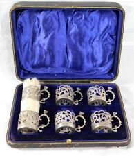 Atq 1800's 6 English Sterling Silver Demitasse Cups w/ Baccarat Glass Inserts