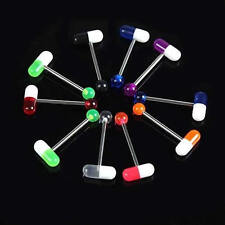 10PCS Mixed Color Piercing Pill Style Tongue Nipple Bar Ring Barbell Body