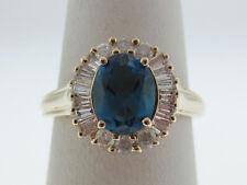 London Blue Topaz Diamonds HALO Solid 10K Yellow Gold Ring FREE SIZING