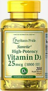 Vitamin D3 1000 IU Puritan's Pride 200 Softgels Strong Bones Teeth FREE SHIPPING
