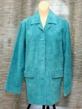 Jessica Holbrook Turquoise Blue Suede Jacket Size L