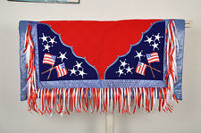 Western Barrel Show Rodeo Style Saddle Pad With Matching Fringes-American Flag