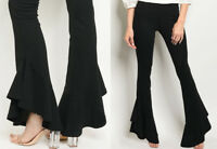 Solid Black Ruffled Flare Leg Pants Mid Rise Stretch Pull On Long Dressy Career